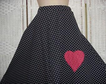 Vintage Upcycled Handmade OOAK Bohemian Rockabilly Swing Polka Dot Skirt Red Heart Applique
