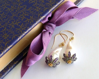 Baroque Flameball Pearls Amethyst Rhodium Bead Cap Earrings - Chantilly Amethyst Earrings