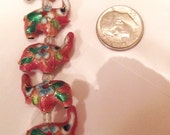 Cloisonne Pink ELEPHANT beads (14) 18 x 16MM Raised Trunk