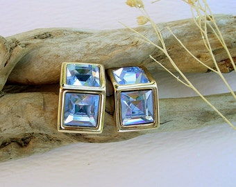 Vintage Swarovski S.A.L. Light Sapphire Blue Pierced Earrings