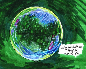No.30 Bubble / Original Artwork / Colorful Drawing / Illustration / Daily Doodle / Drawing of a Bubble with a Green Background