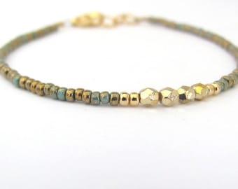 Turquoise Bracelet, Seed Bead Bracelet, Gold Turquoise Blue Friendship Bracelet, Minimal Bracelet, Beaded Bracelet, Hawaiian Jewelry