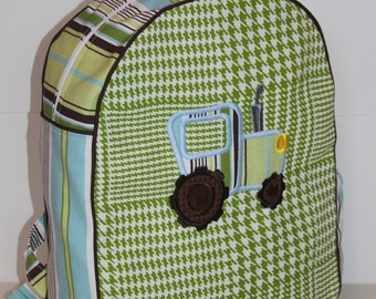 Tractor Applique Backpack for a Preschooler -Ready to Ship-CLEARANCE TAKE 30% OFF- no coupon code needed