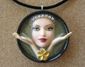 Blissful Zen  - Upcycled Barbie Doll Pendant