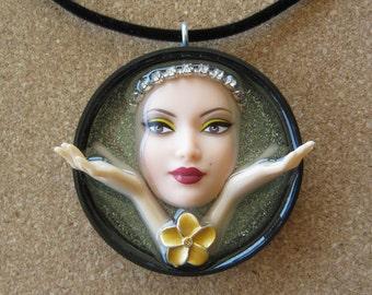 Blissful Zen  - Upcycled Barbie Doll Pendant