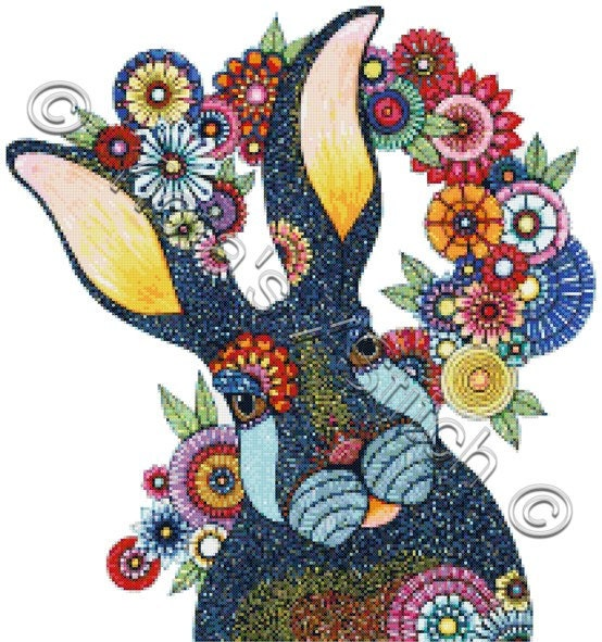 Modern Cross Stitch Kit Mr Rabbit By Hello Angel Abstract