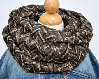 Brown, Tan and Black Graphic Herringbone Infinity Scarf - Chunky Infinity Scarf - Sweater Knit Infinity Scarf