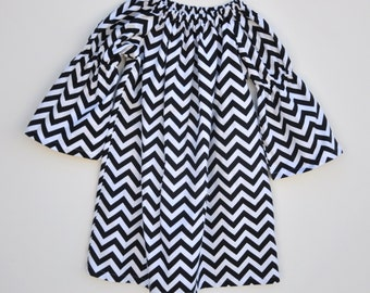 Girls Chevron Dress, Black and White Dress, Long Sleeve Dress, All Sizes, Holiday Dress, Flannel Peasant Dress