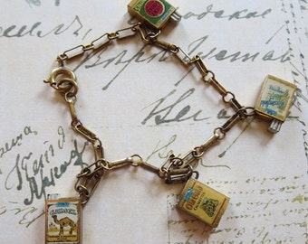 Vintage Enameled Cigarette Packs Charm Bracelet, Mechanical, Four Packs, Camel, Chesterfield, Lucky Strike, Old Gold, Unique Collectible