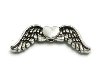 12 Angel Wing Beads silver tone heart wing charm (S428)