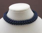 Cobalt Blue Pearls and Delica Flat Spiral Bracelet