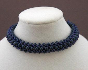 Cobalt Blue Pearls and Delica Flat Spiral Bracelet