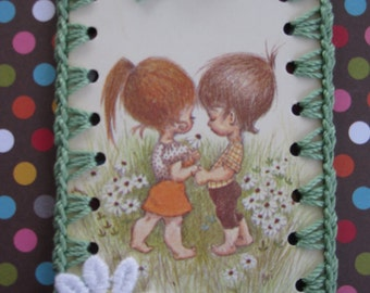 Vintage Playing Card Book Mark / Ornament -  Crochet Mod Couple