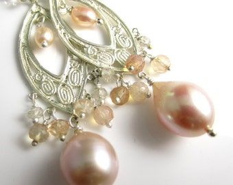 Peach Freshwater Pearl Drops in Chandeliers with Sterling Silver and Peach Quartz