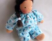 sailboats, germandolls, Waldorf doll clothes, 10 - 12 inch blue doll Pajamas, sleepwear, for boy dolls, handmade dolls, Waldorf toy