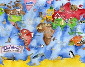 Map for kids wall CANVAS giclee of This World watercolor nursery art by Marley Ungaro