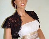 Black Short Sleeve Bridal Wedding Bolero Lace Wrap, Large Size