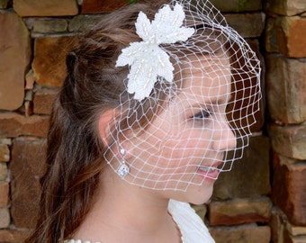 Fabulous Vintage Inspired Beaded Pearl and Rhinestone Ivory Flower and Leaf Bridal Birdcage Veil Comb