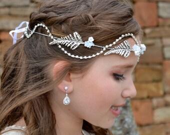 Opal Flower Silver Rhinestone and Leaf Vine Woodland Hair Wreath, Wedding Flower Crown, Bridal Headpiece