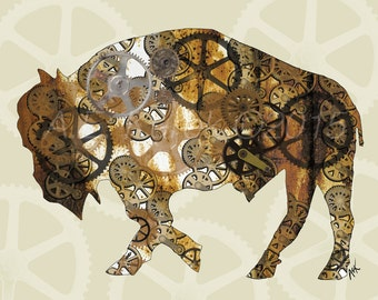 Steam Punk Buffalo Art Print - Buffalo Bison Digital Art Print - 8 x 10 Buffalo Illustration