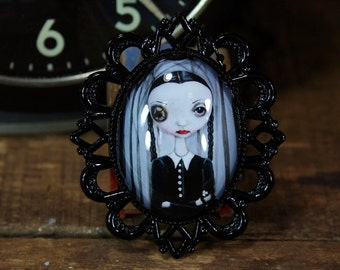 Steampunk Pop Surrealism Lowbrow Wednesday Addams Family Print Necklace