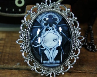 Steampunk Pop Surrealism Lowbrow Gargoyle Necklace