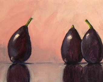 Still Life Fruit Oil Painting, Tropical Figs, Kitchen Wall Decor Art, Pink, Purple, Black, Small 6x8 Canvas Original, Minimalist Design
