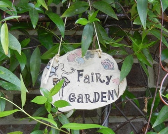 Fairy Garden Ceramic Garden Sign - blue fairy