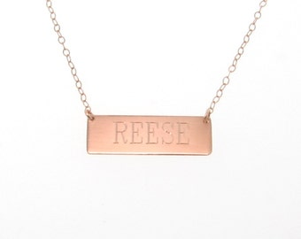 Gold Nameplate Necklace, Gold Bar Necklace Can Be Engraved 14K Yellow, White or Rose Gold Name Plate Bar Necklace