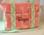 Personalized Diaper bag - Pink Giraffe Fabric - Crossbody - Giraffe diaper bag