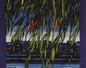 Japanese Art Clifton Karhu 'Weeping Willow' Furoshiki Japanese Fabric w/Free Insured Shipping