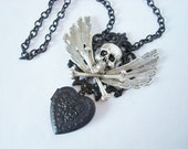 Heart Locket Necklace, Skull and Wings Locket, I Carry My Love With Me, Custom Handmade, Original Design, Quality Components, Metal Bonded