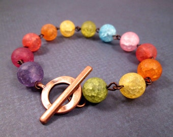 Gemstone Bracelet, Rainbow Crackle Quartz, Copper Beaded Bracelet, FREE Shipping U.S.