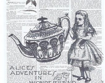 Alice in Wonderland,Tea Time.Antique French Book Page Print.art,buy 3 get 1 FREE, deco.wall hanging.birthday.child.mom.dad.teapot.teacup