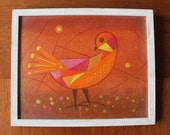 "1960s Bird Art - Original, Signed Forrest Hibbits Painting - ""Oiseau D'ete"""
