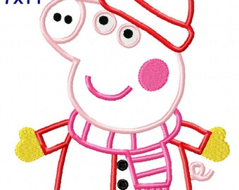 Instant Download Girl Pig Winter Boutique Machine Embroidery Applique Design 5x7 6x10 7X11 hoop