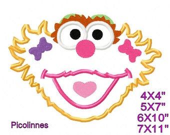 Zoe Head Machine Applique Embroidery Pattern 4x4 5x7 8x10 7x11 INSTANT DOWNLOAD