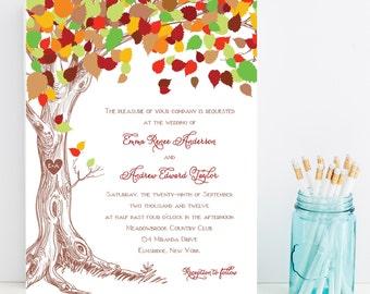 Wedding Invitation - Fall, Autumn Wedding Invitations - Sample Set