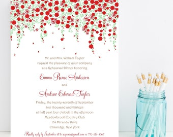 10 Flower Rehearsal Dinner Invitations - Flower Rehersal Invitation