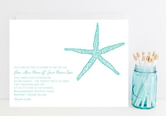 Starfish Wedding Invitation - Ocean, Beach Wedding Invitations