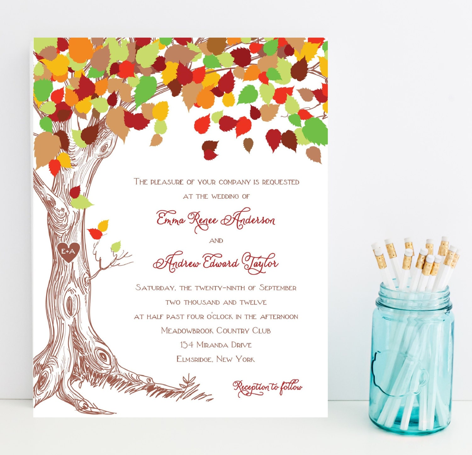 Tree Wedding Invitations: Tree Wedding Invitation Carved Initials By Whimsicalprints