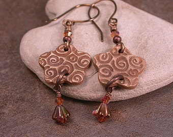 Rustic Earrings with Bronze Clay Flower Charms Tiny Czech Flowers Divine Spark Designs SRA