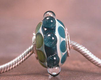 Lampwork Euro Charm Bead Sterling Cored & Capped Boro Lines and Dots Blues and Greens Divine Spark Designs SRA LeTeam