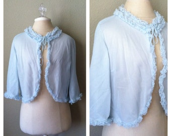 Sale..   Vintage 60s blue sheer bed jacket / lingerie / burlesque / pin up / retro / costume
