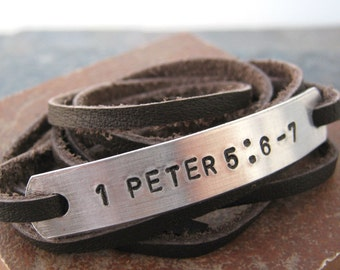Bible Verse Bracelet, Leather Wrap Bracelet, choose leather, metal type, 30 character limit, baptism gift, bible verse jewelry