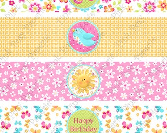 Printable Hello Sunshine Birthday Water Bottle Wrappers - Instant Download