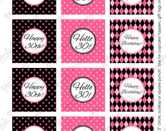 Printable 30th Birthday Pink and Black Cupcake Toppers - Instant Download
