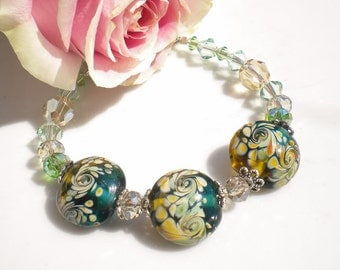 Murano Glass Beaded Bracelet Floral Murano Beads Peridot Swarovski Crystals Lt Golden Crystals OOAK