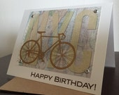 New York City NYC Bike and Map Birthday Card - Screen-Printed Greeting Card