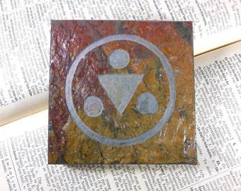 SHADOW SAGE MEDALLION - 4x4 Art Tile - Hand Carved Slate Art Coaster, Etched Stone Art Display Tile - Video Game Room Decor Coaster
